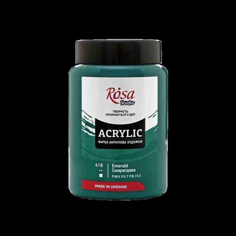 Краска акриловая Acrylic Rosa Studio Изумрудная 400 мл № 418-2