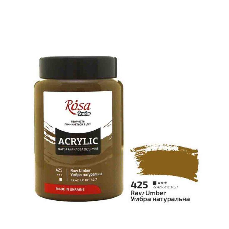 Фарба акрилова Acrylic Rosa Studio Умбра натуральна 400 мл № 425-4